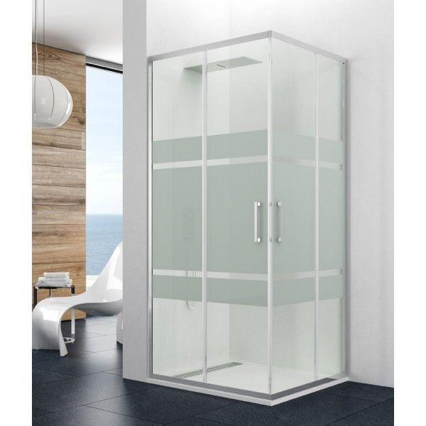 paroi de douche d 39 angle coulissante 2 verres fixes 2 portes prestige. Black Bedroom Furniture Sets. Home Design Ideas