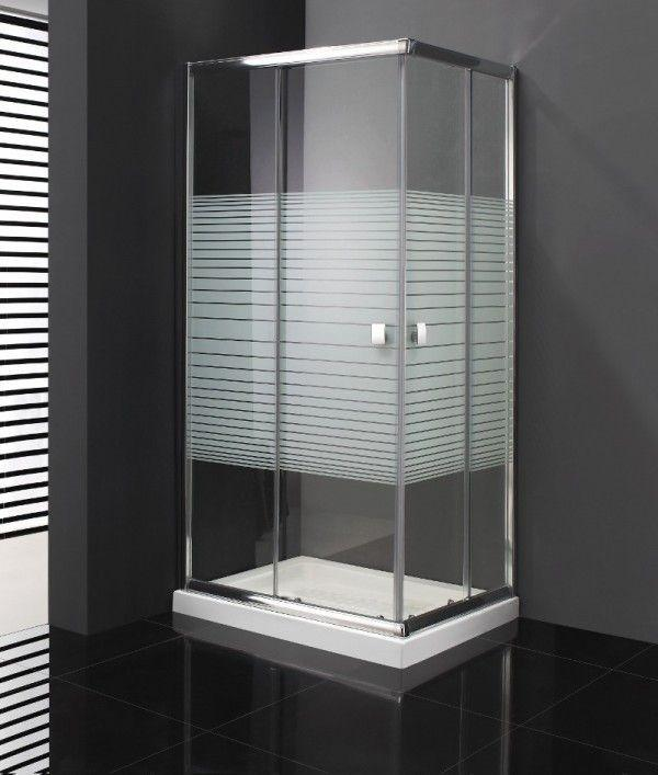 paroi de douche d 39 angle coulissante 2 verres fixes 2 portes titan. Black Bedroom Furniture Sets. Home Design Ideas